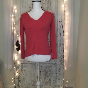 Chico's Coral V-Neck Long Sleeve Sweater
